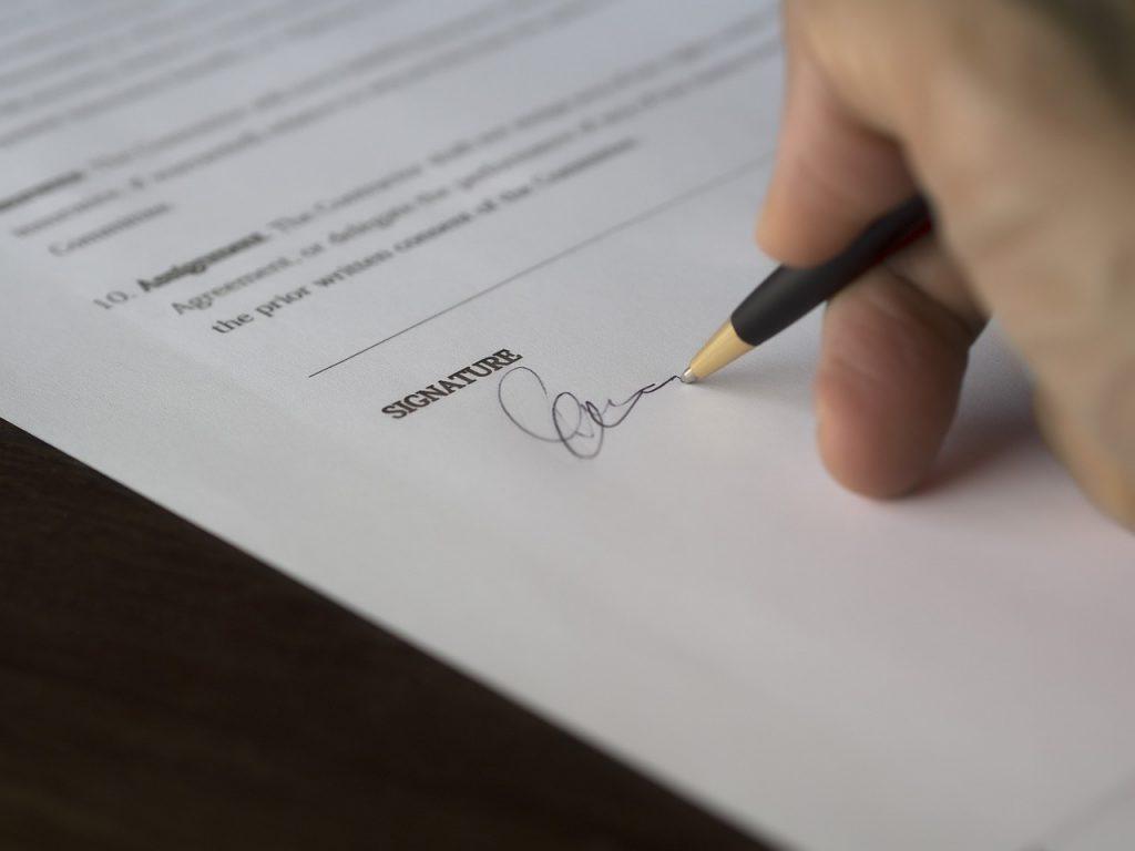Podepsání smlouvy